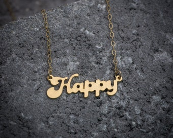 "Statement necklace, happy necklace, script necklace, ""happy"" word necklace, gift under 50, goldfilled necklace, girl necklace, gift for her."