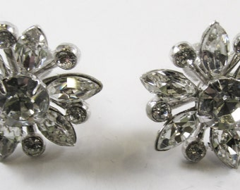 Vintage-Collectible-Coro-Jewelry-Silver-Rhinestone-Earrings-Costume Jewelry-Floral-Women-Gift-Birthday-Birthday Gift-Anniversary-Wedding