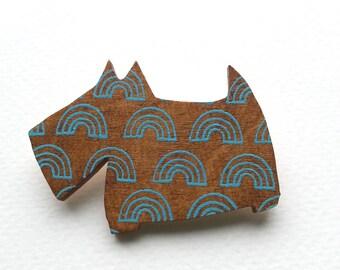 Scotty Dog Brooch - Dog Brooch - Dog Pin - Scottish Terrier - Scottie Dog - Scotty Dog Pin - Wooden Dog Badge