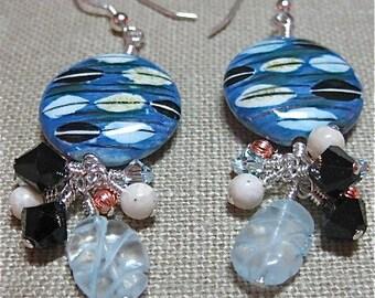 Blue Winking Eye Earrings - E424