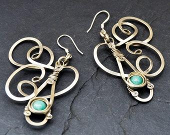 Teal Dangle Earrings, Wire Wrap Earrings, Gemstone Earrings, Blue Green Earrings, Long Earrings, Bohemian Earrings, Silver Earrings