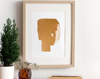 Abstract Giclee Print, Collage Wall Art, Recycled Paper Portrait Girl Room Decor in beige, ivory, white and red