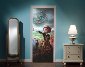 Door Mural Alice In Wonderland Mad Hatters Tea Party View Effect Decal Mural Home Decor Window Sticker Home Living Vinyl Bedroom Lounge 303