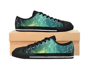 Outer Space WomenS Sneakers Nerdy Sneakers Space Geometry Pattern Sacred Geometry WomenS Shoes Galactic Nebula
