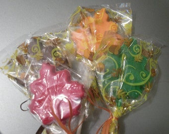 A dozen Leaf Lollipops