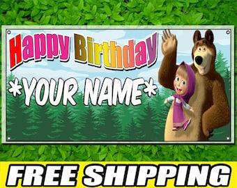 Masha and the Bear Printed Banner Personalized Custom Name Vinyl Banner Happy Birthday Banner