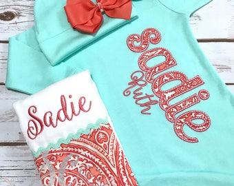 Girl Coming Home Outfit Baby Gown Bow - Baby Girl Bring Home Outfit - Mint & Coral Sleeper With Bow - Monogrammed Baby Gown