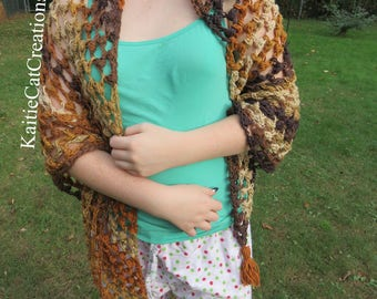 Crochet Triangle Scarf Shawl Brown - Ready to Ship!
