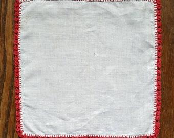 Red Tatted Edge Handkerchief