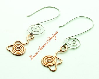Handcrafted Sterling Silver & Copper Earrings