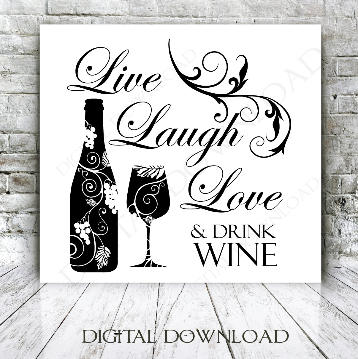 Wine Love Quotes Live Laugh Love Drink Wine Quote Vector Digital Design