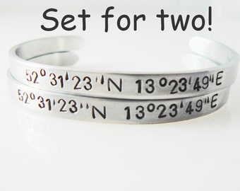 coordinate bracelet, set of 2, hand stamped, longitude latitude, location bracelet, graduation gift, boyfriend girlfriend, bulk discount