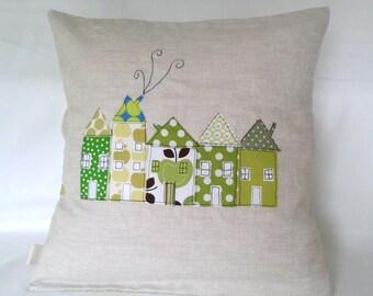 """Cushion cover, green houses in a row, European, free motion applique, 16"""" / 40cm."""