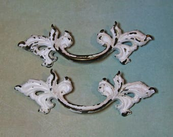 Furniture HARDWARE (2) Salvaged Drawer Pulls- FRENCH Baroque Style with White Chippy Paint- Aged Patina