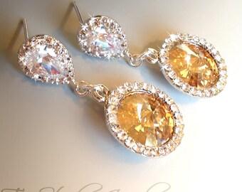 Swarovski Crystal Rivoli Rhinestone Bridesmaid Wedding Earrings - SONIA