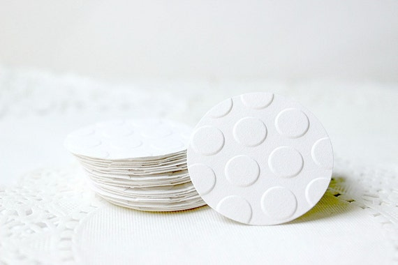 Round white stickers round white envelope seals embossed