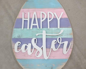 Wood Easter Egg, Easter Egg, Easter, Wood Egg, Egg, Happy Easter, Easter Decor, Wood Sign, Chippy Paint Wood, Distressed Sign, 3D Wood Sign