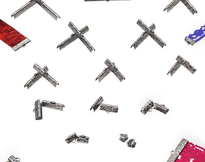 Gunmetal Ribbon Clamps - Ribbon Crimps in Assorted Sizes - Artisan Series
