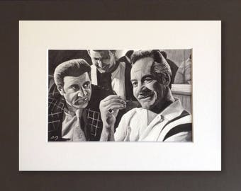 SOPRANOS wall art - giclee print of 'All Due Respect' acrylic painting by Stephen Mahoney - Paulie and Silvio in the Bada Bing