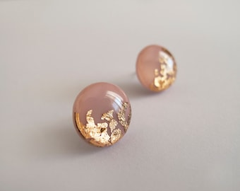 Rose and Gold Round Stud Earrings - Hypoallergenic Titanium Posts