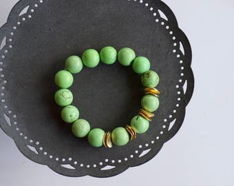 Green turquoise bracelet - gemstone bracelets - gold accents - gift for her