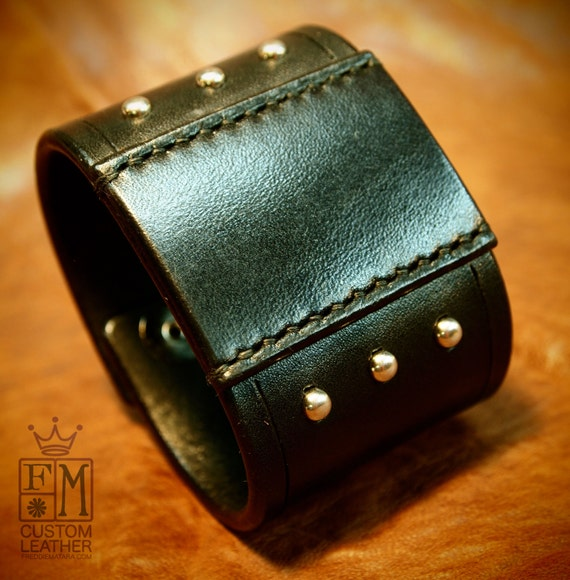 Black leather cuff 2 inch wide studded and Handstitched patch American bridle Bracelet made in USA!