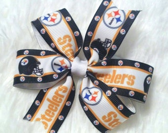 3 inch Pittsburgh Steelers football bow