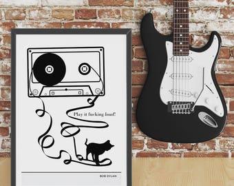 Bob Dylan, music gift, literary print, cat poster, cat artwork, gift for cat lovers, bob dylan art, bob dylan lyrics, reader gifts