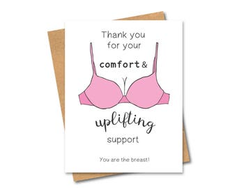 Funny Punny Thank You Card - Bra - Boobs - Support
