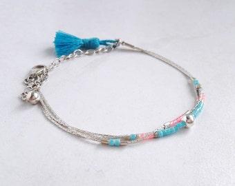 Bracelet blue beads and Sterling Silver Blue Bracelet blue bracelet 3 row sterling silver bracelet Pink Pearl multi strand bracelet