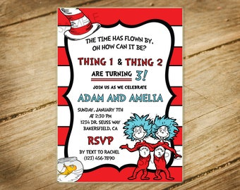 Thing 1 and Thing 2 / Cat in the Hat / Dr. Seuss Themed Birthday Invitation