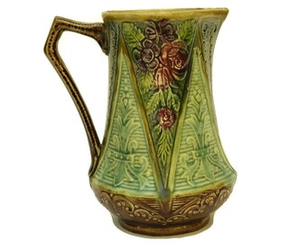 French Antique Majolica Flower Water Pitcher.