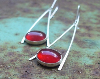 Swing Girl Earrings - Sterling Silver and Carnelian