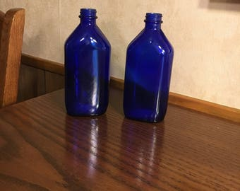 Milk of Magnesia Blue Glass Bottles