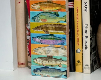 Fishing gift, Gifts for Men, Fish Art, Fish Decor, Fish Sticks, Freshwater Fish Art Block Set of 7, Dad Gift, for Dad, Lake House Decor