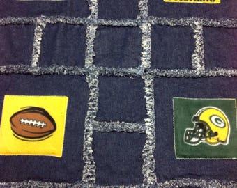 Green Bay Packers Denim Rag Blanket