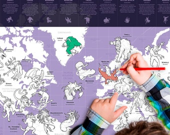 Mythical monster glow map creature fantastic beasts glow mythical monster colouring map mythical creature fantastic beasts kids poster gift gumiabroncs Gallery