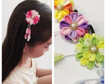 Handmade Kanzashi Layered Hair Snap Clip