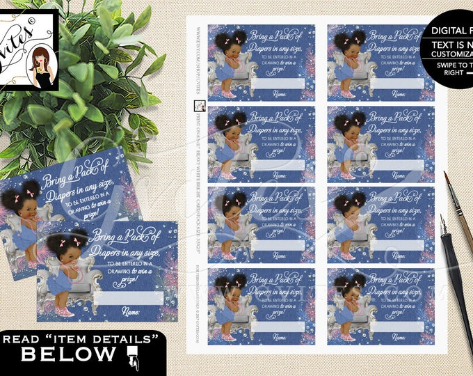 """Diaper raffle ticket, raffle tickets, cards, girl, baby shower, denim and diamonds party inserts {3.5x2.5""""/ 8 Per Sheet}"""