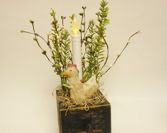 Primitive Candle Box, Candle Boxes, Country Farmhouse Decor, Primitive Chickens, Accent Lighting, Spring Decor