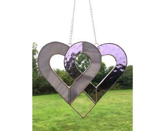 Stained glass purple and grey love heart suncatcher decoration gift
