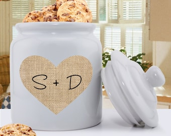 Personalized Couples Burlap Cookie Jar - Ceramic Cookie Jar -  Cookie Jar - Kitchen Decor - Couples Gifts - Wedding Gifts - GC1420