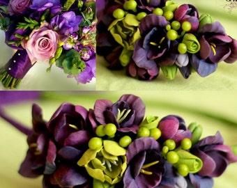 wedding flower, bride bouquet, bride bracelet, purple bride bouquet, purple and green bouquet, purple bride, purple wedding, custom bouquet