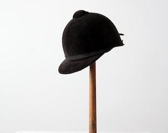 vintage equestrian hat, black hunt hat