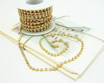 Gold Rhinestone Chain, Clear Crystal, (3mm / 1 Yard Qty)