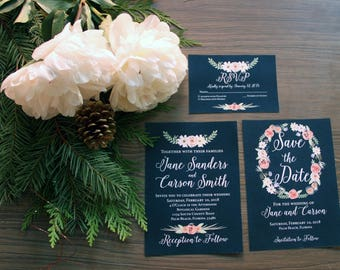 Navy Floral Wedding Invitation Sample Set