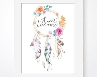 Dream Catcher Print, Dreamer Print, Dreamcatcher, Tribal Print, Tribal Decor, Native American, Nursery Decor, Girls Bedroom, Nursery Print