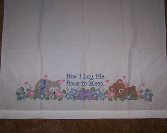 "Cross Stitch Crib Sheet ""Now I Lay Me Down to Sleep..."" -- FREE SHIPPING"