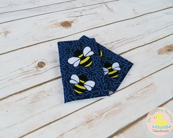 Ready To Ship* Embroidered Bee Straight Drool Pads on Navy w/ Quilted Background Coordinates with Tula Rosy Posy. Pads fit most major brand.
