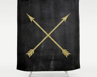 Black and Gold Shower Curtain, Arrow Decor, Boho Shower Curtain, Girls Bathroom, Fabric Shower Curtain, Standard, Extra Long, Gifts for Her